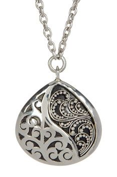 Lois Hill Sterling Silver Medium Ying Yang Teardrop Pendant Necklace