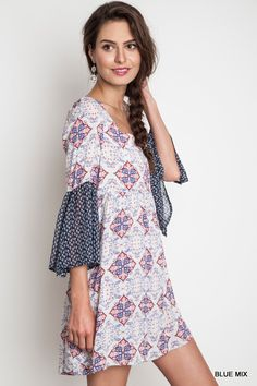 Printed Mini Bell A-Line Dress - Blue Mix - Knitted Belle Boutique  - 1