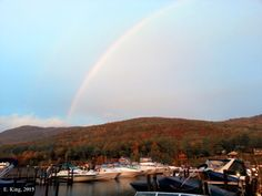 Rainbow after storm Castaway Marina on Lake George Fall 2013