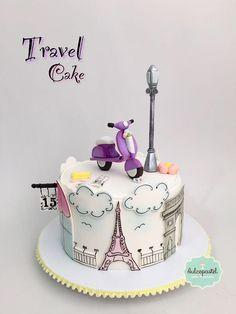 Paris Birthday Cakes, Paris Themed Cakes, Elegant Birthday Cakes, Paris Cakes, Adult Birthday Cakes, Birthday Cakes For Women, Cake Birthday, Fondant Cakes, Cupcake Cakes