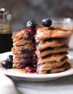 Blueberry-Banana Oatmeal Pancakes. These gluten-free, vegan pancakes are delicious, and they don't cause a carb coma. They're also heart healthy, high in fiber, and doable from start to finish in 10 minutes flat. via www.domesticate-me.com @serenagwolf