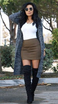 image of monica gabriela ( wearing outfit by dm boutique, cardigan by windsor - Fall Fashion Trends - Autumn Fashion And Outfit Ideas Cute Fall Outfits, Fall Winter Outfits, Trendy Outfits, Outfits With Boots, Fall Skirt Outfits, High Fashion Outfits, Dress With Boots, Winter Boots, Fasion
