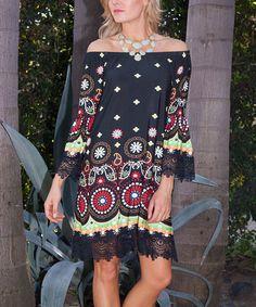 Look at this #zulilyfind! Black Filigree Lace-Trim Off-Shoulder Dress #zulilyfinds
