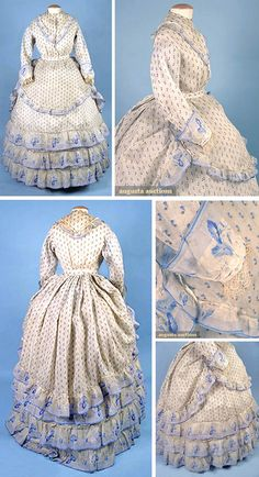 Printed voile summer dress, ca. 1860s. Three pieces, white with tiny blue flowers, trimmed with morning glory-printed voile bands. Augusta Auctions