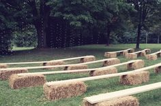 Bench laid on hay bales vs. dressing each individual hail bail.