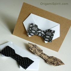 Post image for Make an Easy Origami Bow-tie Card for Dad - Origami Spirit by Leyla Torres