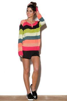 Sweater rayado multicolor - Short tejido