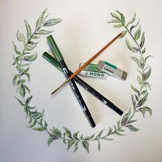 Watercolor laurel using Tombow Dual Brush Pens