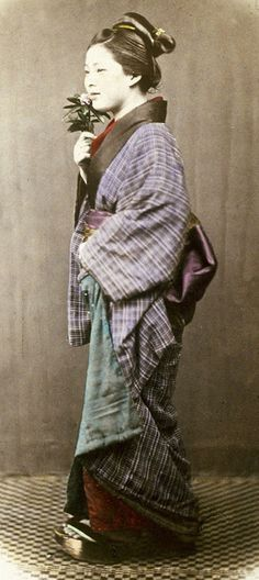 Portrait of a young lady,  1870's, Japan, by photographer Felice Beato