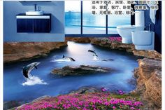 Custom 3 d PVC wallpaper photo wallpaper Only beautiful dolphins swimming river red flowers floor painting floor wallpaper(China (Mainland))