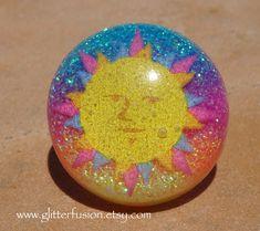Hippie Sunshine Glitter Bubble Resin Statement Ring, Colorful Sunset Glitter Gradient Boho Resin Dome Ring, Free Spirit Glitter Fusion Ring