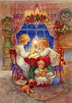 lisi-martin y la Navidad Vintage Christmas Images, Old Fashioned Christmas, Christmas Scenes, Christmas Past, Christmas Pictures, Winter Christmas, Christmas Letters, Christmas Writing, Illustration Noel