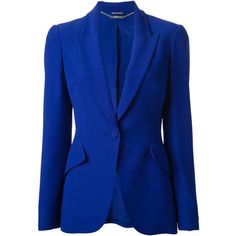 ALEXANDER MCQUEEN fitted blazer (€1.645) ❤ liked on Polyvore featuring outerwear, jackets, blazers, coats, alexander mcqueen, alexander mcqueen blazer, fitted blazer, long sleeve blazer and blue blazer
