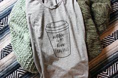 Coffee is my love language Tee - Womens Coffee Shirt - Coffee Cup Tshirt - I Love Coffee - Gray Scoop Neck Top - Created by Braymont Designs