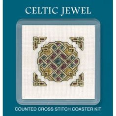 Celtic Jewel Counted Cross Stitch - perfect for St. Patrick's Day! Coaster Kit by Textile Heritage COCJ #diy #homemade #celtic #crossstitch #crafts #artsandcrafts