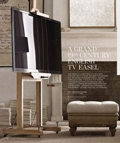 Easel Tv Stand, Art Stand, Diy Tv Stand, Metal Easel, Wooden Easel, Flat Screen Tv Stand, Tv Furniture, Cool House Designs, Restoration Hardware