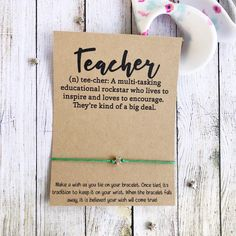 Teacher Appreciation Gift Teacher Gift Back To School Back Teacher Appreciation Gifts, Teacher Gifts, Back To School Gifts For Teachers, The Silver Star, Prayer Partner, Think Positive Thoughts, Wish Bracelets, Make A Wish, First Day Of School