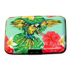 """Turquoise & Pink Flying Parrot Armored Wallet Keep your essentials organized and protected with this armored wallet featuring an RFID shield and electromagnetic sleeve that safeguard your personal information. 4.5 """"wide x 3 """"High x .5"""" deep. Metal. Snap closure . standard wallet pockets Bags Wallets"""