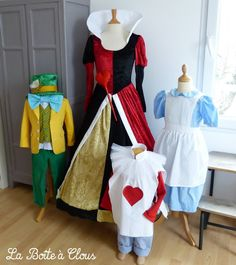 Alice in wonderland costumes. The Red Queen / The Queen of Hearts, the Mad Hatter, Alice, the White Rabbit.