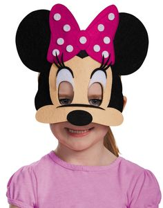 Minnie Mouse Felt Mask is a jawless half-mask which allows for easy talking and eating while wearing. One size fits most children. Box Dimensions (in Inches) Length : 14.00 Width : 9.00 Height : 1.00