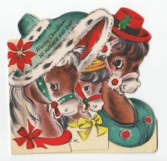 Vintage Greeting Card Christmas Horse Hallmark Die-Cut 1940s e718