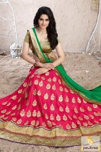Beautiful pink color modern style lehenga choli with dupatta online with cash on delivery in India. Fancy designs and zari border work ghagra choli in low cost. #lehengha, #lehenghacholi more: http://www.pavitraa.in/store/lehenga-style/
