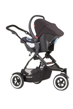 phil&teds DOT stroller with alpha infant car seat attached