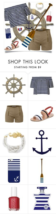 """""""Striped shirt contest"""" by im-karla-with-a-k ❤ liked on Polyvore featuring Adeco, Topshop, LE3NO, Ancient Greek Sandals, West Coast Jewelry, Casetify, Authentic Models, Essie, Bond No. 9 and stripedshirt"""