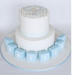 Blue Blossoms Christening Cake in blue and white.JPG