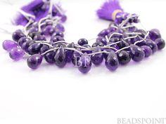 Dark Purple AfricanAmethyst Medium Faceted Tear Drop by Beadspoint, $51.95