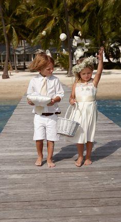 Lauren Ralph Lauren Wedding: All-white everything for your ring bearer and flower girl.