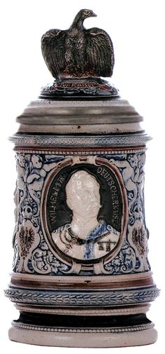 ( - .5L, relief, marked 308, three Kaisers, figural inlaid lid -  eagle,