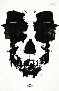 I think this image is very powerful because as you can see both Dr. Jekyll and Mr. Hyde are being depicted with what looks like only their shadows but both of them combined creates a skull figure.