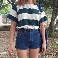 striped shirt high waisted shorts belt