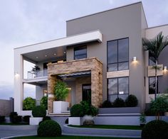 37 Stunning Contemporary House Exterior Design Ideas You Should Copy - Today, contemporary house plans are very intelligently designed to give utmost comfort to the people. These plans not only feature flexible floor spac. House Front Design, Modern House Design, Flat Roof House Designs, Modern House Facades, Contemporary House Plans, Contemporary Garden, Contemporary Interior, Contemporary Wallpaper, Contemporary Style