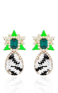 Galaxy Sequin Earrings In Black And Green by Shourouk for Preorder on Moda Operandi