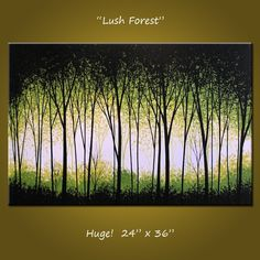 Acrylic Painting Original Large Abstract Modern Contemporary Landscape Trees .. white yellow green black ...24 x 36 .. Lush Forest