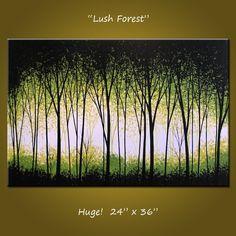 Arte pintura Original paisaje contemporáneo moderno abstracto grandes árboles... blanco verde negro... 24 x 36... Exuberante bosque, por Amy Giacomelli