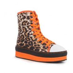 271 Women Lace-Up Mid-Top Platform Sneaker Mid-Calf Booties - Leopard