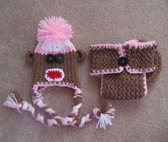 Sock Monkey Hat and Diaper Cover by simplyyarn27 on Etsy, $25.00