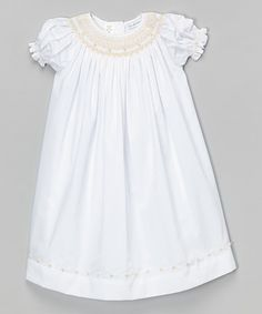 Look at this #zulilyfind! White & Peach Smocked Dress - Infant & Toddler by Petit Pomme #zulilyfinds