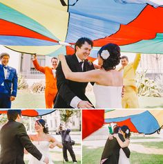 Aaah!! Have your first look under a parachute! | 35 Incredibly Creative Ways To Add Color To Your Wedding