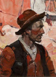 SHEAR [in-spuh-rey-shuhn], FRANK SCHOONOVER Untitled Portrait Oil on Board...