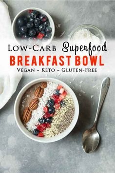 Jump-start your morning with this quick and easy overnight low-carb Superfood Breakfast Bowl made with chia seeds hemp seeds unsweetened coconut and berries! It's vegan keto gluten-free and packed with protein healthy fats and fiber! Vegetarian Breakfast, Low Carb Breakfast, Breakfast Bowls, Healthy Breakfast Recipes, Brunch Recipes, Vegan Vegetarian, Chia Seed Breakfast, Breakfast Ideas, Soup Recipes