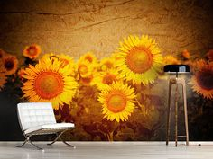 Foto #Tapete Retro-Sonnenblumen Retro, Home Decor, Photos, Self Adhesive Wallpaper, Sunflowers, Photo Wallpaper, Wall Papers, Homes, Nice Asses