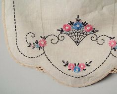 Antique Deco Embroidered Linen Panel, Vintage, Textile Panel, Needle Arts, Sewing Supply, Home Decor, Spring Flower Basket on Etsy, $18.50
