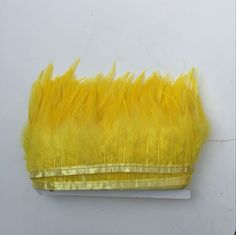 Shekyeon 10yards/lot Rooster Hackle Feather Trim Costume Dress Decoration DIY Craft Feather(Yellow) ** You can get more details by clicking on the image.