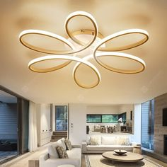 Buy EverFlower Modern Simple Floral Shape LED Semi Flush Mount Ceiling Light With Max Painted Finish, sale ends soon. Be inspired: discover affordable quality shopping on Gearbest Mobile! False Ceiling Design, Simple Ceiling Design, Modern Ceiling, Textured Ceiling, Light Design, Flush Ceiling Lights, Flush Mount Ceiling, Ceiling Fixtures, False Ceiling Living Room