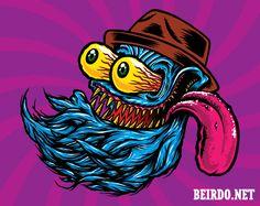 Big Daddy Ed Roth inspired - Beirdo Beard Company goon mascot illustration by VonGriz. #kustom kulture #kustom art #kustom kulture art #edroth