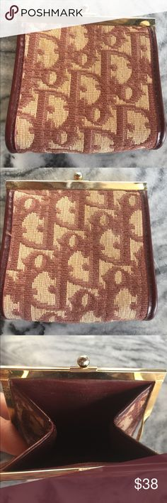 VTGE Christian Dior Change Wallet Made in France This great vintage change purse wallet is in great used condition. It is fabric on the outside and leather on the inside. Measures 3 1/2 inches wide & 3 1/2 inches high. Closes by a snap. Christian Dior Bags Wallets